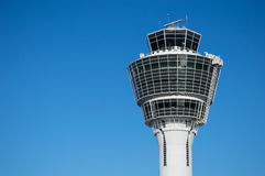 Modern air traffic control tower in international passenger airport Stock Images