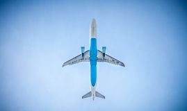 Modern aircraft in flight Stock Photography