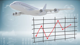 Modern airplane and graph of price changes Stock Images