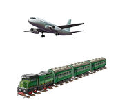 Modern airplane, Green passanger train. Isolated on white Stock Photos