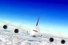 Modern airplane  in the sky near Airport. Royalty Free Stock Image