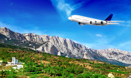 Modern airplane  in South part of Crimea. Stock Photography