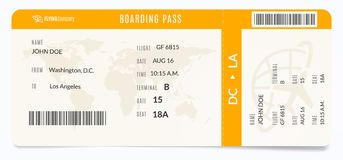 Modern airplane template. Realistic plane admission. Boarding pass illustration. Modern airplane template. Realistic plane admission. Boarding pass illustration stock illustration
