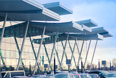 Modern airport building with glass wall Royalty Free Stock Photo