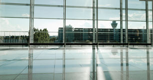 Modern Airport building sunlit hall Royalty Free Stock Photography