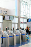 Modern airport gate self boarding system Royalty Free Stock Photos