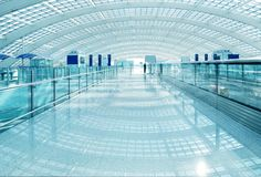Modern airport interior Stock Photos