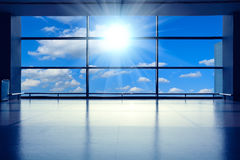 The Modern airport interior glass wall aisle window Royalty Free Stock Images
