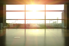 Modern airport interior glass wall aisle window Royalty Free Stock Image