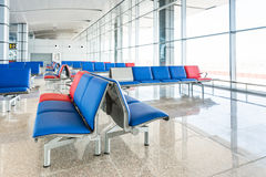 Modern Airport Lounge Seat Rows Stock Photo