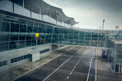 Modern airport terminal in Kiev at cloudy day Stock Image