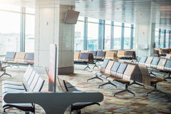 Modern airport terminal waiting room Royalty Free Stock Photos