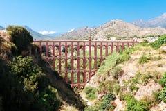 Modern akviduk near village of Nerja, Province of Granada, Spain Stock Images