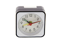 Modern alarm clock i. Solated over white. Time is 10.12 a.m Royalty Free Stock Image
