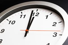 Modern alarm clock is showing midday or midnight movement. It is Royalty Free Stock Images