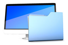 A modern all in one computer with a data folder Royalty Free Stock Photo