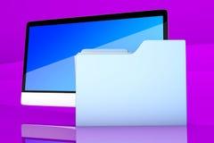 Modern allen in één computer met een gegevensomslag Royalty-vrije Stock Afbeeldingen