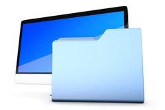 Modern allen in één computer met een gegevensomslag Stock Afbeeldingen