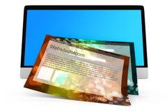 Modern allen in één computer met een generische website Royalty-vrije Stock Foto's