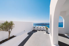 Modern Alley and Terrace in Santorini Greece Stock Images