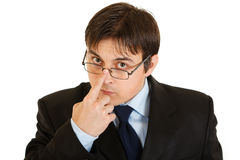 modern allvarlig uträtning för glasögon Arkivfoto