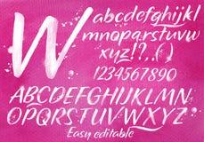 Modern alphabet pink background Stock Photo