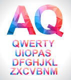 Modern alphabet with triangle texture inside Stock Images