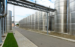 Modern aluminum barrels Stock Photography
