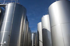 Modern aluminum barrels where grape juice is aged into wine Stock Photography