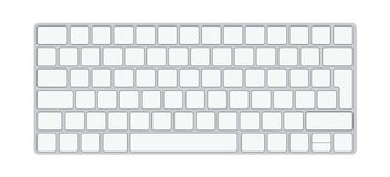 Modern aluminum computer keyboard isolated on white background. Vector illustration royalty free illustration