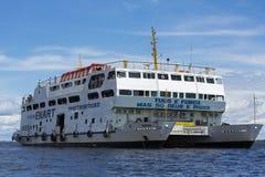 Modern Amazon passengers boat on Rio Negro in Manaus, Brazil Royalty Free Stock Photo