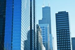 Modern American City. Scape. Glassy Skyscrapers of Chicago, Illinois, USA. American Architecture Photo Collection Royalty Free Stock Photos