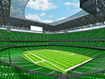 Modern American football Stadium with geen seats. 3D render of beautiful modern large empty American football stadium with green seats and VIP boxes for hundred Royalty Free Stock Photo