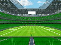 Modern American football Stadium with geen seats. 3D render of beautiful modern large empty American football stadium with green seats and VIP boxes for hundred Stock Photos
