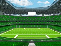 Modern American football Stadium with geen seats. 3D render of beautiful modern large empty American football stadium with green seats and VIP boxes for hundred Stock Photography