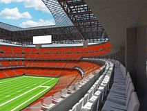 Modern American football Stadium with orange seats. 3D render of beautiful modern large empty American football stadium with orange seats and VIP boxes for Stock Image