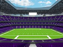 Modern American football Stadium with purple seats Royalty Free Stock Photos