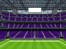 Modern American football Stadium with purple seats. 3D render of beautiful modern large empty American football stadium with purple seats and VIP boxes for Stock Images