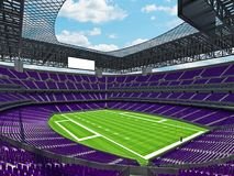 Modern American football Stadium with purple seats. 3D render of beautiful modern large empty American football stadium with purple seats and VIP boxes for Royalty Free Stock Photos