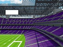 Modern American football Stadium with purple seats. 3D render of beautiful modern large empty American football stadium with purple seats and VIP boxes for Royalty Free Stock Photo