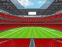 Modern American football Stadium with red seats. 3D render of beautiful modern large empty American football stadium with red seats and VIP boxes for hundred Royalty Free Stock Photo
