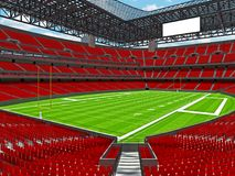 Modern American football Stadium with red seats Royalty Free Stock Photos