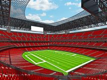 Modern American football Stadium with red seats. 3D render of beautiful modern large empty American football stadium with red seats and VIP boxes for hundred Royalty Free Stock Images