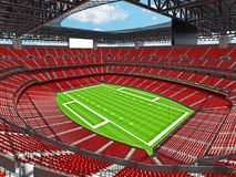 Modern American football Stadium with red seats Royalty Free Stock Image