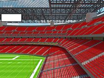 Modern American football Stadium with red seats. 3D render of beautiful modern large empty American football stadium with red seats and VIP boxes for hundred Royalty Free Stock Photography