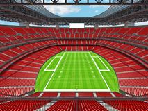 Modern American football Stadium with red seats. 3D render of beautiful modern large empty American football stadium with red seats and VIP boxes for hundred Stock Photos