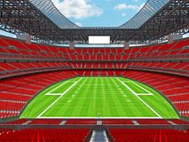 Modern American football Stadium with red seats. 3D render of beautiful modern large empty American football stadium with red seats and VIP boxes for hundred Stock Photo