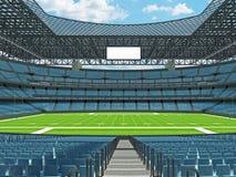 Modern American football Stadium with sky blue seats Stock Photos
