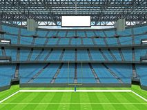 Modern American football Stadium with sky blue seats Royalty Free Stock Photos