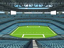 Modern American football Stadium with sky blue seats. 3D render of beautiful modern large empty American football stadium with sky blue seats and VIP boxes for Stock Images